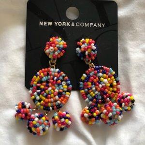 Rainbow Beaded Drop Earrings